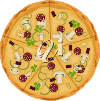 Clipart image of a pepperoni and mushroom pizza.