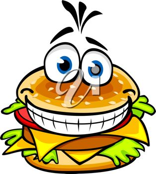 Cartoon clipart image of a smiling hamburger with lettuce and cheese.