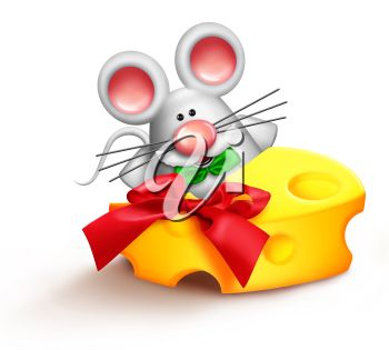 Cartoon image of a mouse with a piece of cheese with a bow.
