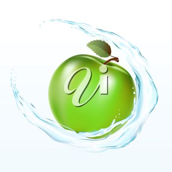 Clipart image of a shiny, fresh apple being washed in water.