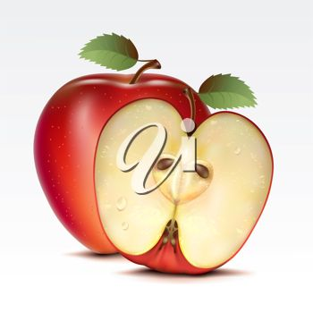 Clipart image of half an apple with a whole apple.