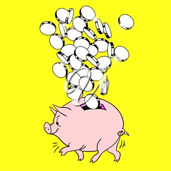 Clip art image of money being added to a pigy bank.