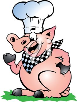 Cartoon Clipart Image of a Pig Wearing a Chef's Hat
