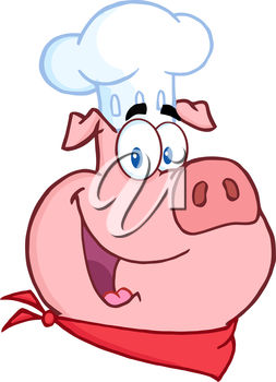 Clipart cartoon of a pig dressed as a chef.