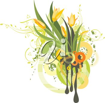 Clipart image of Spring tulips and leaves.