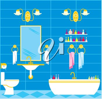 Clip art image of a bathroom with bathtub, sink and accessories.