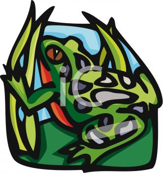 Clipart image of a realistic looking frog.