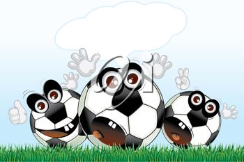 Happy cartoon soccer balls with a speech bubble.