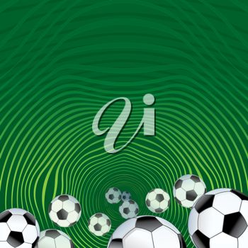 Clip art image of soccer balls on a green background.
