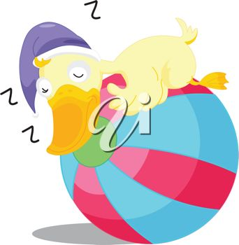 Duck Wearing a Nightcap and Sleeping on a Ball