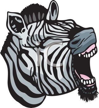 Clipart image of a yawning zebra.
