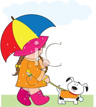 Young Girl Walking Her Dog in the Rain with an Umbrella