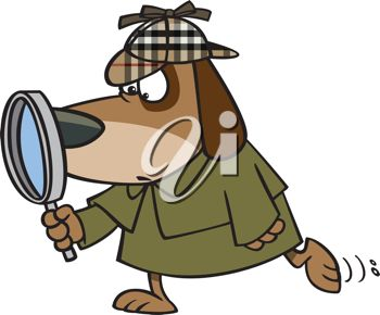 Dog Detective with a Magnifying Glass