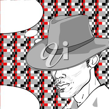 Detective with a Retro Hat and Speech Bubble