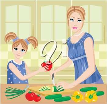 Mother and Daughter Coooking in a Kitchen