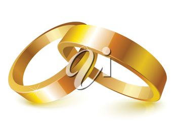 3D Clip Art Illustration Of Two Wedding Rings