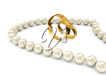 Two Gold Wedding Rings and a Pearl Necklace