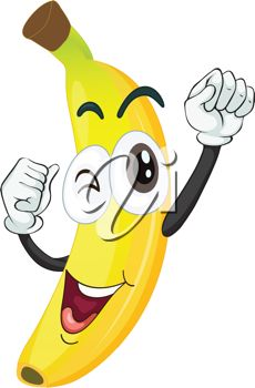 Smiling Banana with His arms in the Air