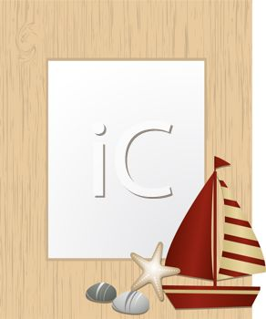 Sailboat and Shells with a Blank Frame