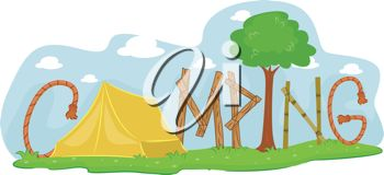 A Tent with the Word Camping
