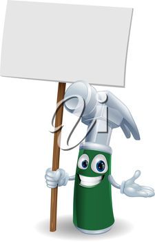 Cartoon Hammer Holding up a Sign