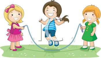 Three Children Playing with a Skipping Rope