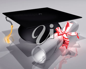 Graduation Image of a Mortarboard and Diploma