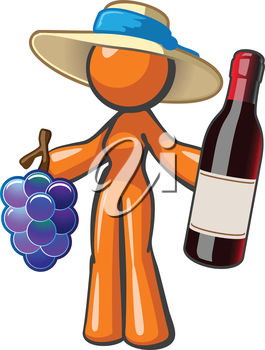 Woman Holding a Bottle of Wine and Some Grapes