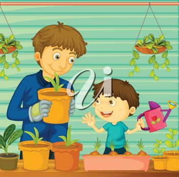 Father and Son Growing Plants