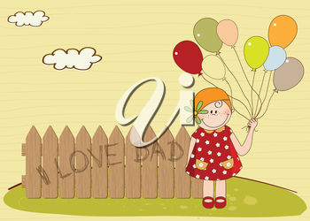 Girl Holding Balloons Beside a Fence