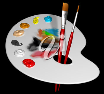Paintbrushes and Painting Palette