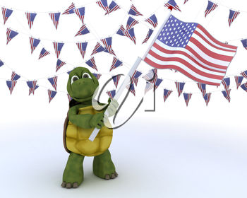 Turtle Carrying a USA Flag with Bunting