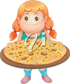 Girl Holding a Large Pizza