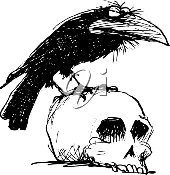 Cartoon Raven on a Skull