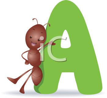 clip art illustration of an ant standing beside the letter a rh clipartguide com letter a clipart black and white letter a clipart black