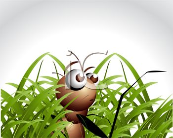 Scared Ant Hiding in the Grass
