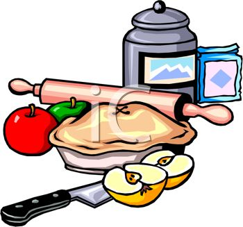 Clip art illustration of kitchen implements and an apple pie for Art and cuisine cookware review