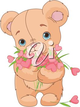 Teddy Bear Holding a Bouquet of Flowers