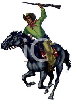 Cowboy Riding a Horse Carrying a Rifle