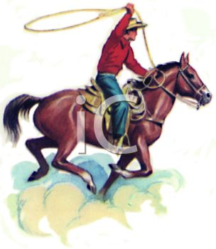 Cowboy on a Horse Throwing a Lasso