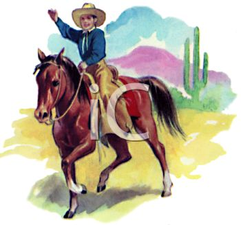 Cowboy on a Horse in the Desert