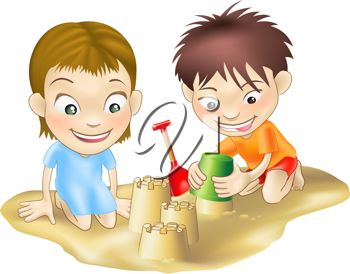 Clip Art Illustration Of Two Kids Making A Sand Castle On The Beach