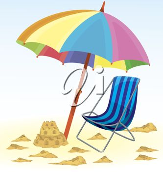 Umbrella, Deck Chair and Sand Castle on the Beach