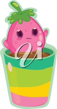 Strawberry Sitting on a Plant Pot