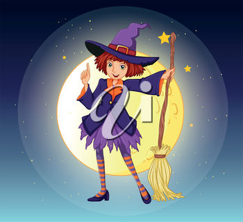 Witch Holding a Broomstick in Front of the Moon