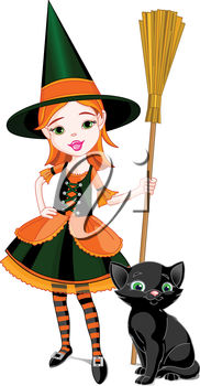 Witch with a Broomstick and Black Cat
