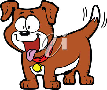 Cartoon Dog Wagging His Tail