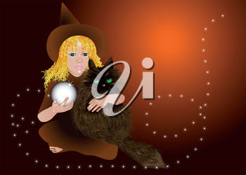 Witch Holding a Cat and Crystal Ball