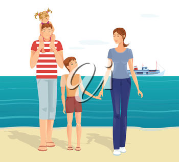 Familiy Walking on a Sandy Beach