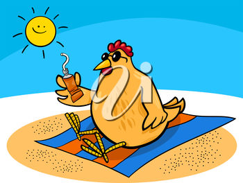 Chicken Sunbathing on a Beach